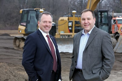 Daryl Adams, President & CEO, and Steve Guillaume, Division President, Specialty Vehicles, at the site of Spartan Motors' proposed new truck manufacturing plant.